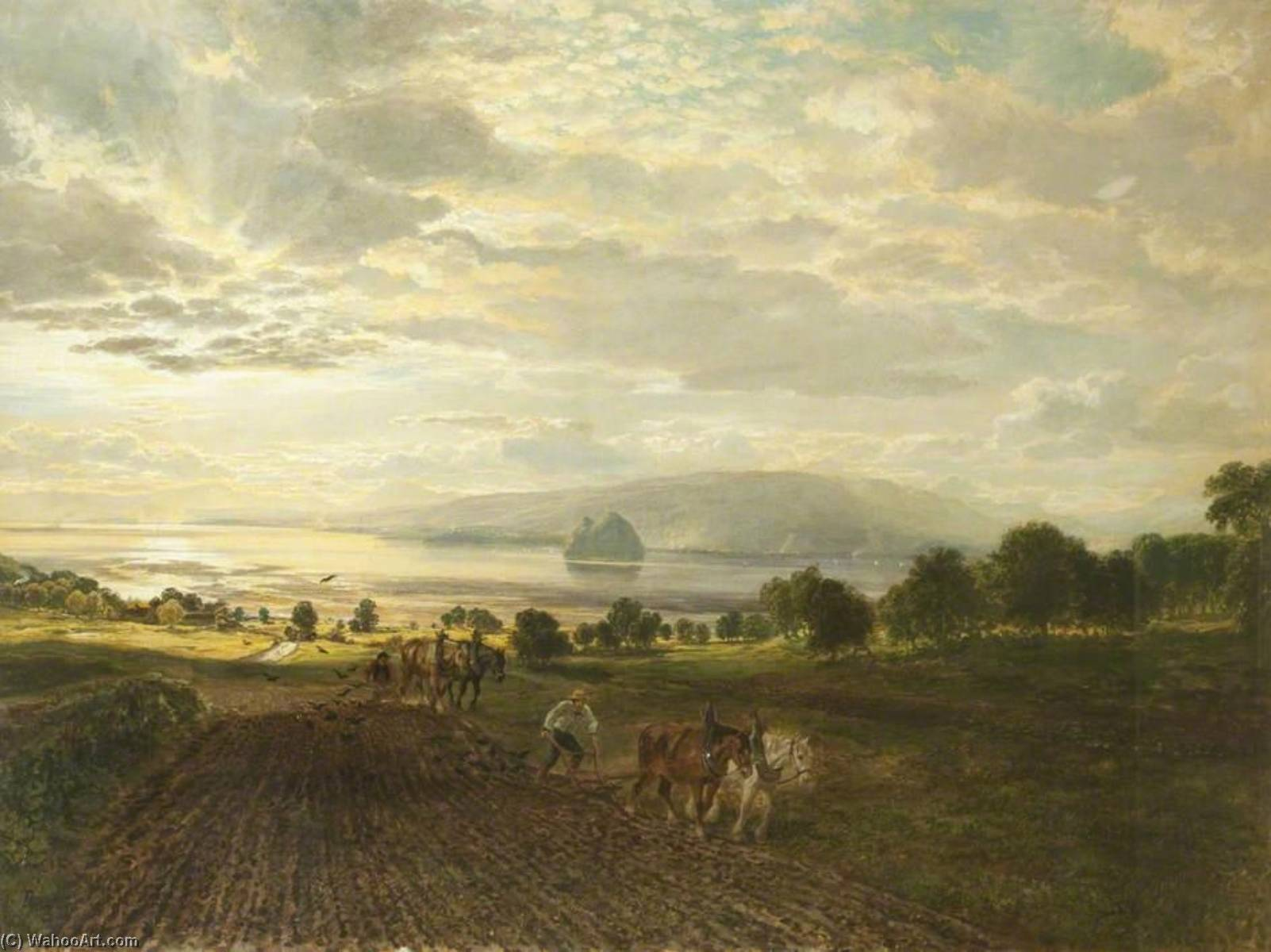 Dumbarton Rock (also known as Bass Rock, Dumbarton) by Samuel Bough (1822-1878, United Kingdom) | WahooArt.com
