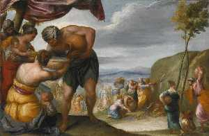 Juan Antonio Frias Y Escalante - Moses Striking the Rock and the Drunkenness of Noah a pair
