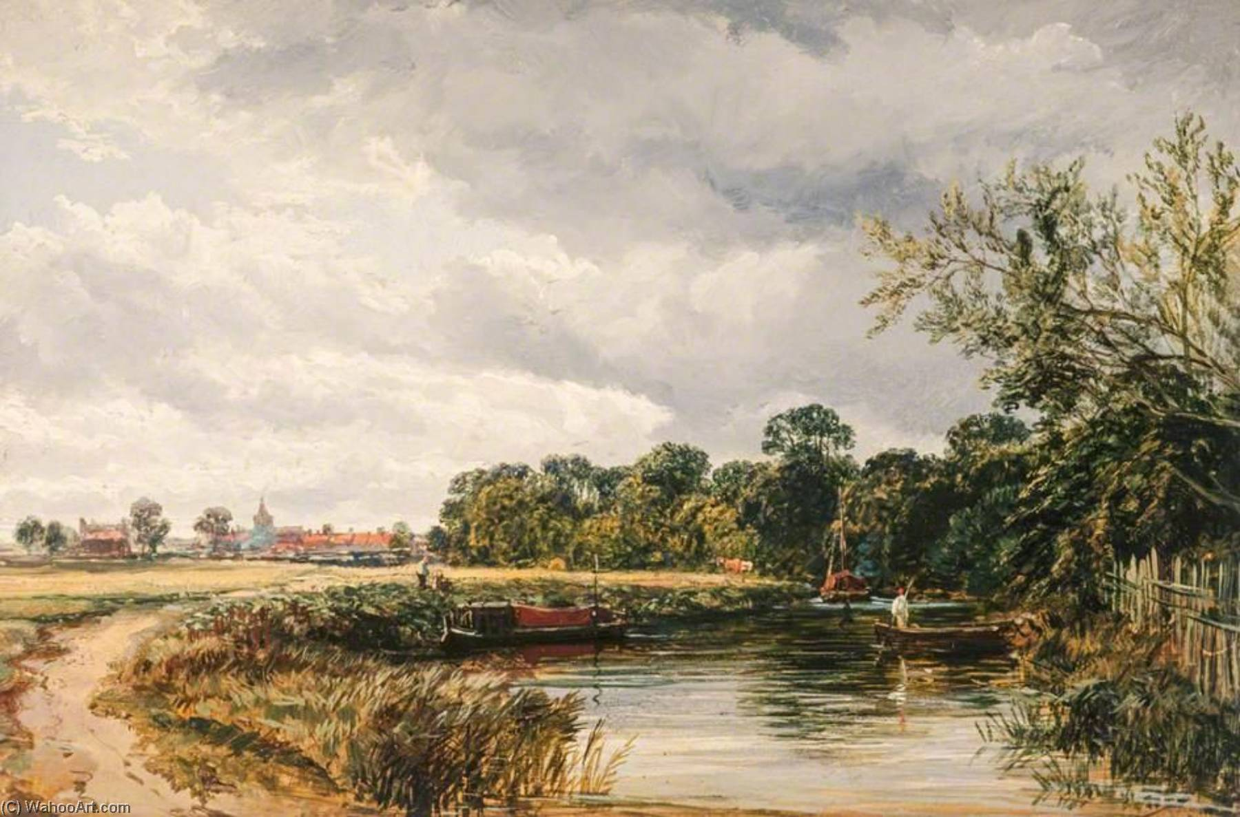 An English Canal Scene, Oil On Panel by Samuel Bough (1822-1878, United Kingdom)