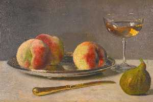 Otto Scholderer - Still Life with Peaches and Fig