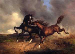 Buy Museum Art Reproductions | Horses during a Thunderstorm, 1846 by Rudolf Koller (1828-1905) | WahooArt.com