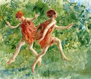 Francis Luis Mora - Girls Dancing in a Landscape