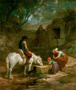 Frederick Goodall - The Drinking Trough A Scene in Brittany