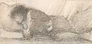 Edward Coley Burne-Jones - study of katie lewis