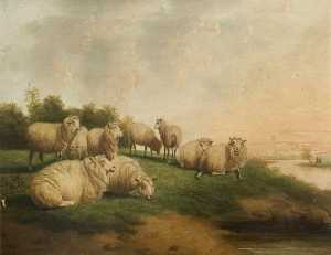 Thomas Sidney Cooper - Landscape with a Flock of Sheep Resting