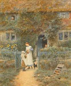 Helen Allingham (Helen Mary Elizabeth Paterson) - Fetching the Milk