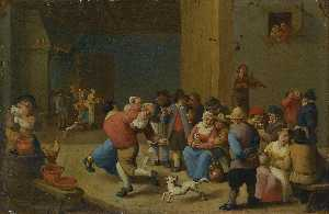 Mattheus Van Helmont - A tavern interior with drinking and dancing peasants