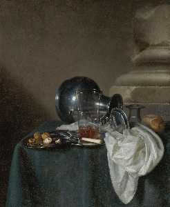 Simon Luttichuys - A Still Life with a Pewter Jug on its Side, a glass of ale, a salt cellar, a bread roll and other objects on a table draped in a dark green cloth