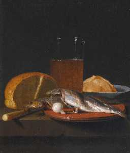 Simon Luttichuys - Still life with mackerel, bread, a pewter plate and a glass of beer on a table