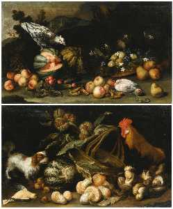 Anton Maria Vassallo - A forest floor still life with a dog, a cockerel, horse chestnuts and a melon A forest floor still life with figs, pears, melons, apricots and cucumbers