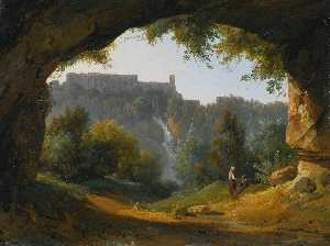 Jean Charles Joseph Rémond - View of Tivoli from a grotto