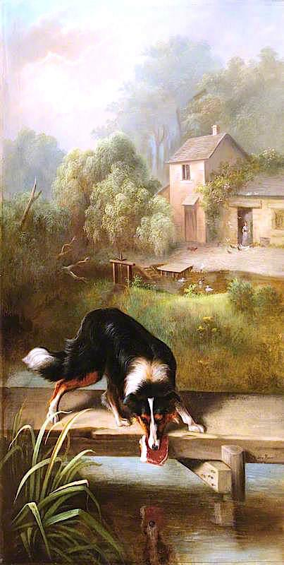 Order Famous Paintings Reproductions : The Dog and the Piece of Flesh by John Bucknell Russell | WahooArt.com