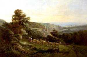 John Joseph Barker - Landscape with Sheep