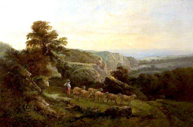 Landscape with Sheep, Oil On Canvas by John Joseph Barker