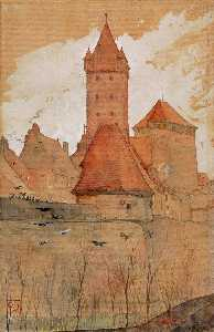 Cass Gilbert - Towers from the City Wall, Nuremberg