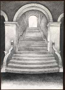 Order Paintings Reproductions | Untitled (Renwick Gallery Staircase), 1971 by Lowell Nesbitt | WahooArt.com
