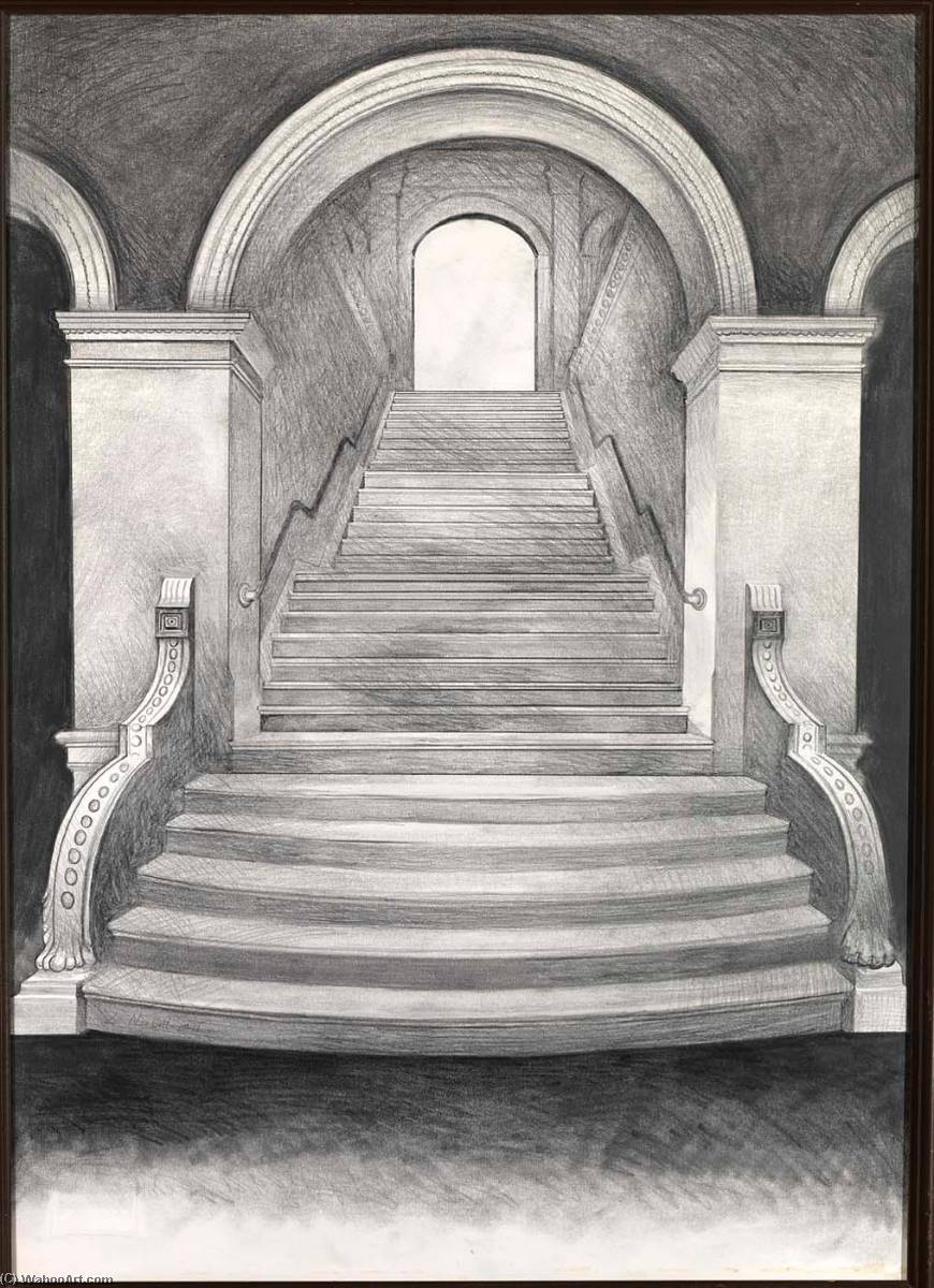 Untitled (Renwick Gallery Staircase), 1971 by Lowell Nesbitt | Paintings Reproductions Lowell Nesbitt | WahooArt.com