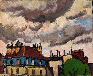 Henry Lyman Saÿen - Rooftops and Clouds, Paris