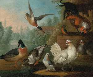 Marmaduke Cradock - Still Life with Cockerels, Ducks, a Kingfisher and a Pigeon in a River Landscape