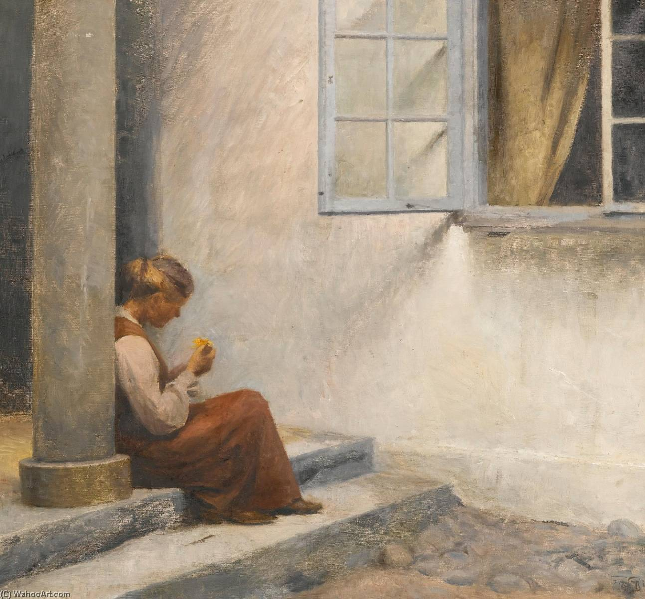 On the Porch, Liselund, Oil On Canvas by Peder Ilsted