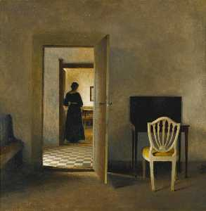 Peder Ilsted - Interior with White Chair