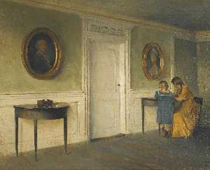 Peder Ilsted - The artist's daughters in an Interior