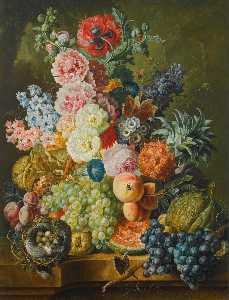 Paul Theodor Van Brussel - Still life of fruits and flowers together with a bird's nest arranged upon a stone ledge