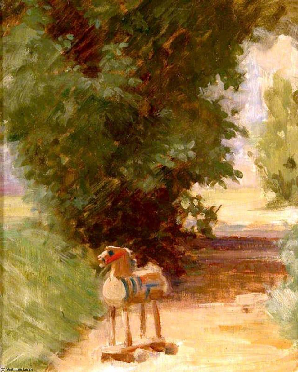 Dobbin on the Path (also known as The Wooden Horse), 1920 by Percy Harland Fisher | Reproductions Percy Harland Fisher | WahooArt.com