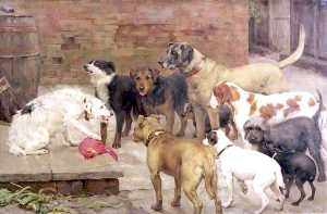 Percy Harland Fisher - Dog With His Master-s Dinner La Fontaine-s Fables