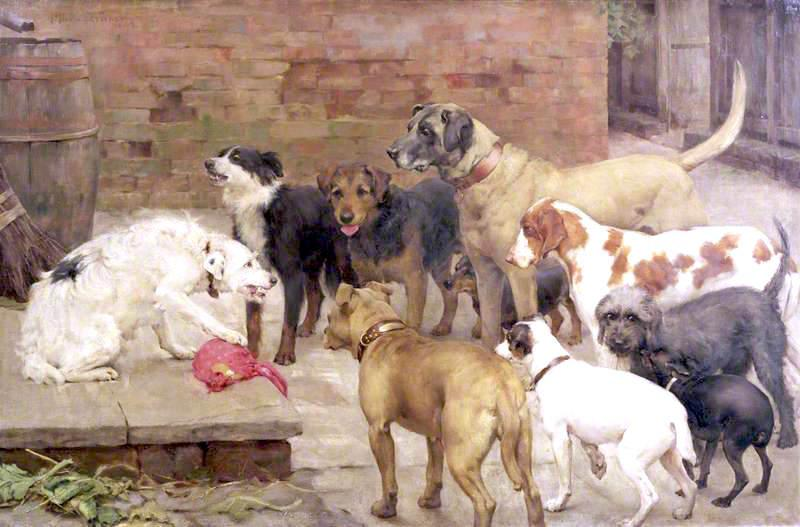 Dog With His Master's Dinner La Fontaine's Fables, Oil On Canvas by Percy Harland Fisher