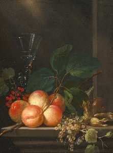 Michel Bouillon - Still life with peaches, redcurrants, whitecurrants, hazelnuts and a glass, arranged on a stone ledge