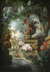 Miguel Parra - A garden scene with an urn of flowers, a flower garland and a fountain beneath a canopy of wisteria