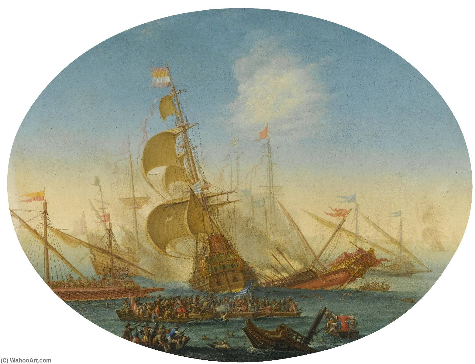 a naval battle between turks and christians, Copper by Orazio Grevenbroeck