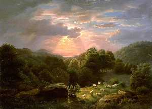 Robert Seldon Duncanson - Landscape with Sheep