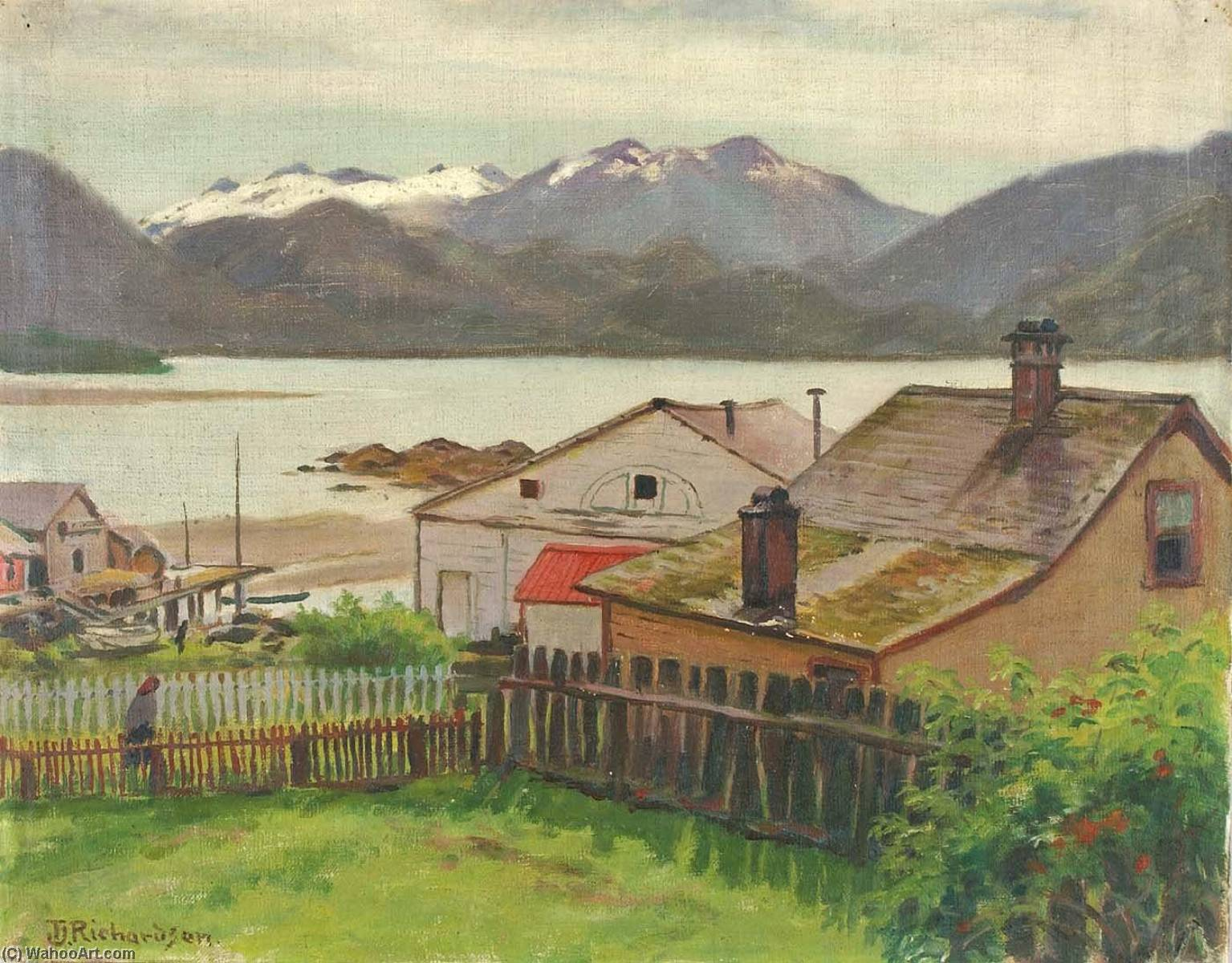 In the Old Quarter, Sitka, 1900, 1900 by Theodore J. Richardson | Paintings Reproductions Theodore J. Richardson | WahooArt.com