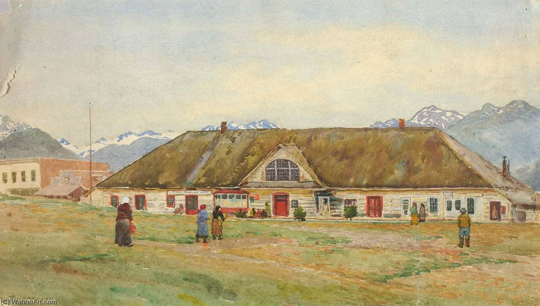 Old Russian Trading Post, Sitka, 1914 by Theodore J. Richardson | Museum Art Reproductions Theodore J. Richardson | WahooArt.com