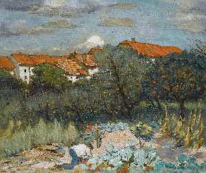 Petr Alexandrovich Nilus - Landscape with red roofs