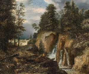 Roelant Roghman - Rocky Landscape with a Waterfall and Two Figures Resting