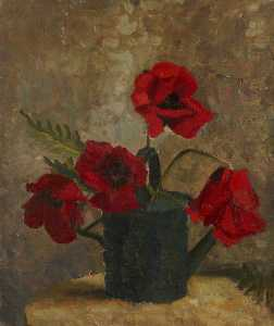 Margaret Frances Anne Vane-Tempest-Stewart - Still Life of Poppies in a Watering Can