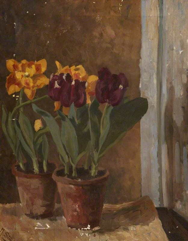 Still Life of Yellow and Purple Tulips in Two Terracotta Pots by Margaret Frances Anne Vane-Tempest-Stewart | Paintings Reproductions Margaret Frances Anne Vane-Tempest-Stewart | WahooArt.com