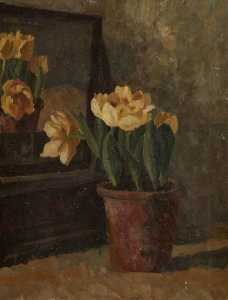 Margaret Frances Anne Vane-Tempest-Stewart - Still Life of Yellow Tulips in a Terracotta Pot in Front of a Mirror