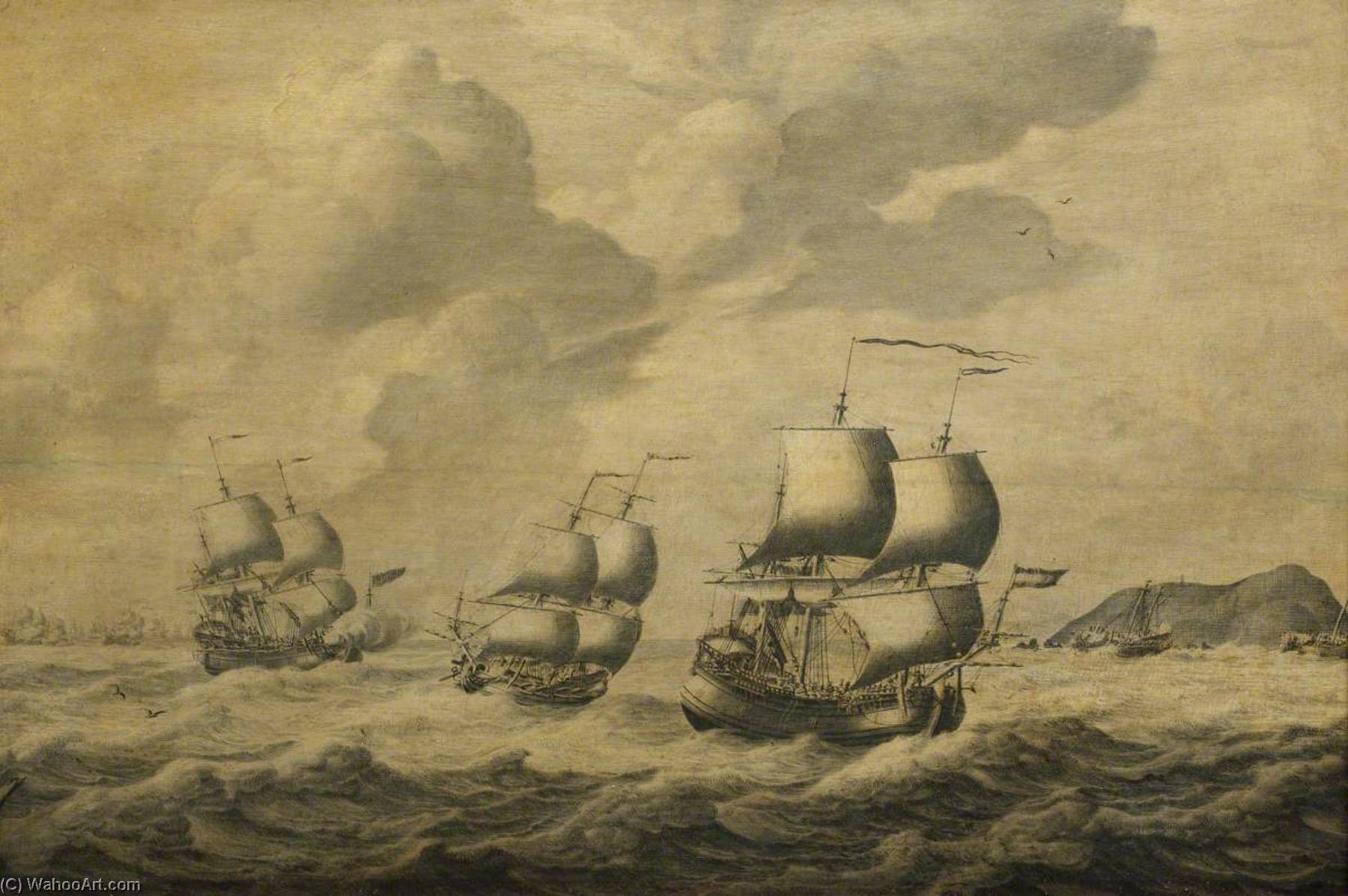 Dutch Ships Driving before a Gale by Adriaen Van Salm | Art Reproduction | WahooArt.com