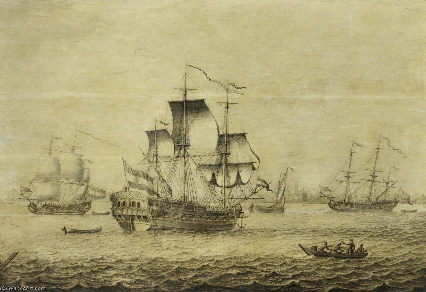 A Dutch Frigate off Rotterdam by Adriaen Van Salm | Art Reproduction | WahooArt.com