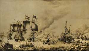 Adriaen Van Salm - The Battle of Barfleur, 19 May 1692