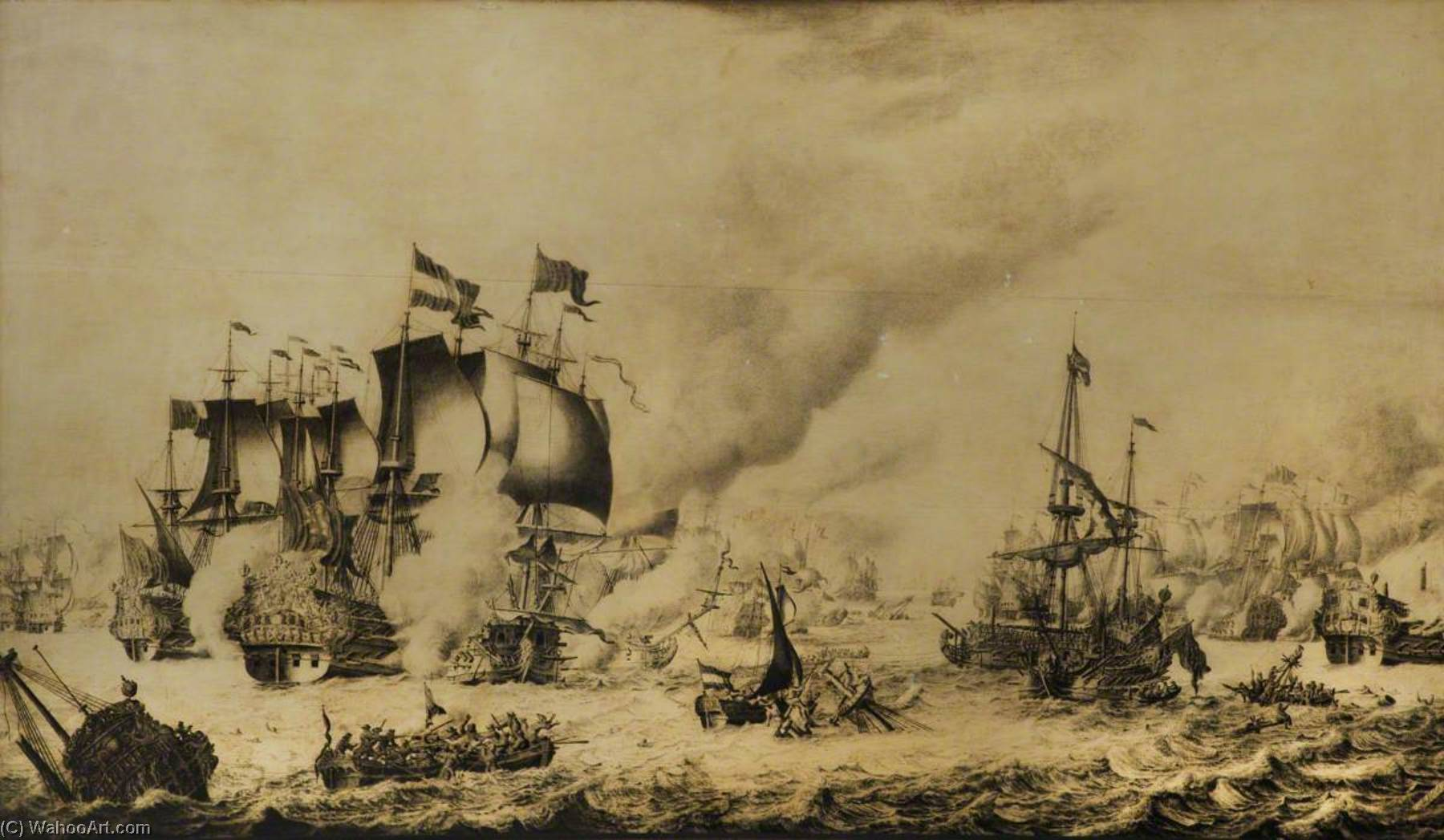 The Battle of Barfleur, 19 May 1692 by Adriaen Van Salm | Art Reproduction | WahooArt.com