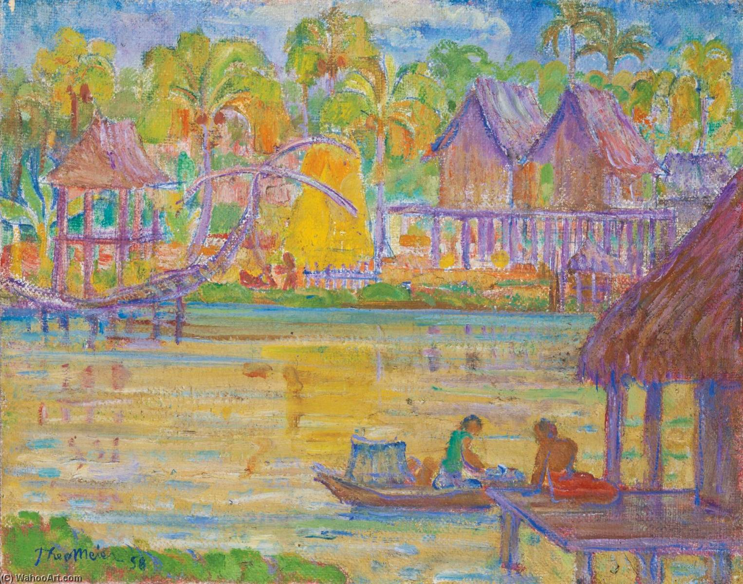 Village on a Lake, Hua Hin, Oil On Canvas by Theo Meier