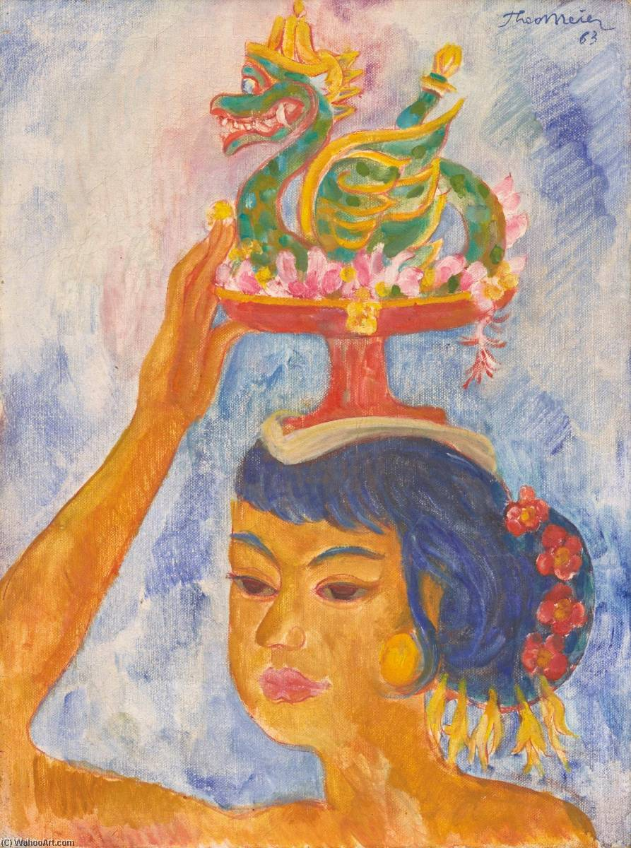 Balinese Woman with Offering, Oil On Canvas by Theo Meier