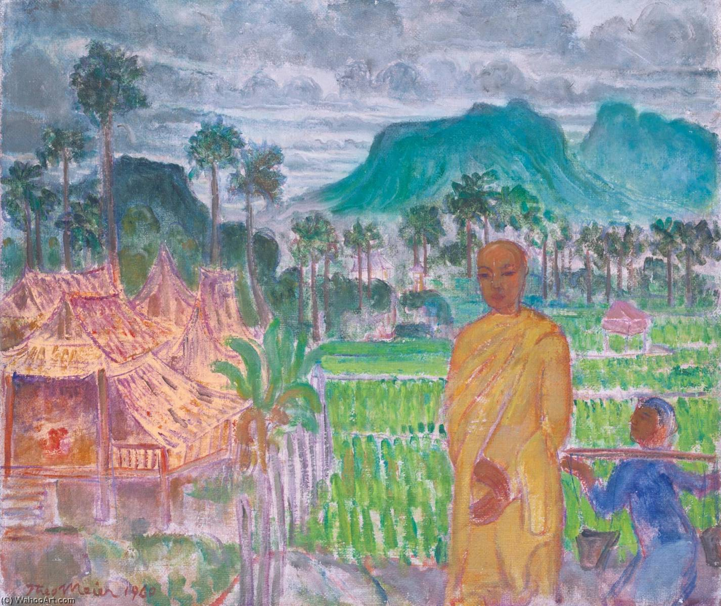 Monk in a Village, Hua Hin, Oil On Canvas by Theo Meier
