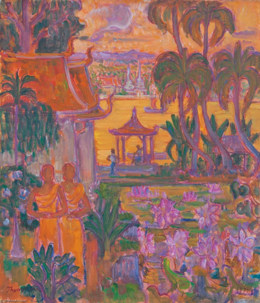 Figures at a Temple in Thailand, Oil On Canvas by Theo Meier