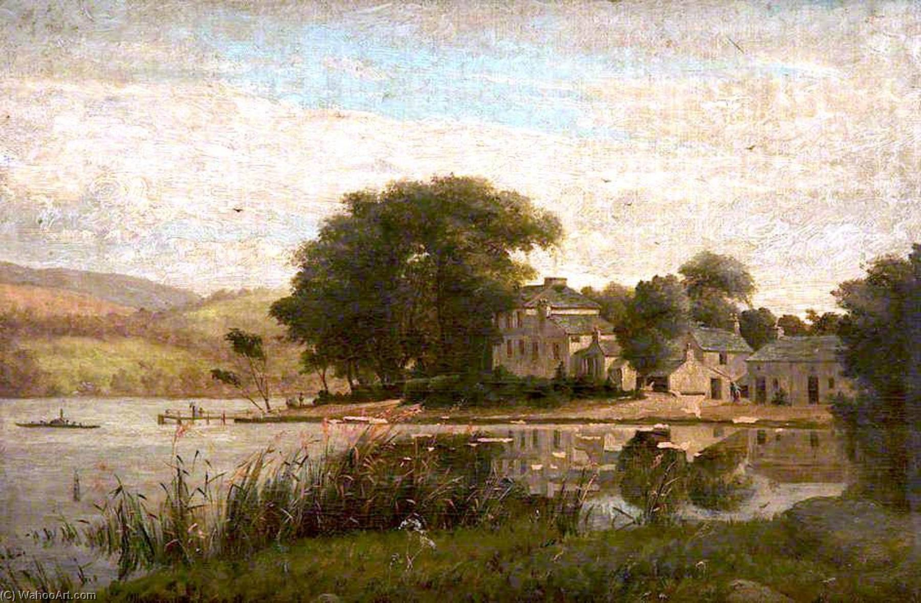 Order Paintings Reproductions | Landscape with a Lake and Houses by James Hey Davies (1844-1926) | WahooArt.com